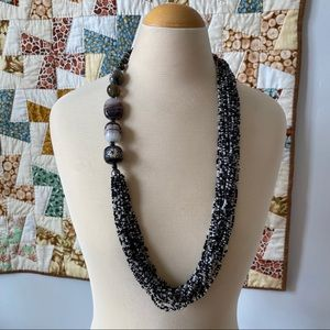 Vintage black and white seed bead necklace